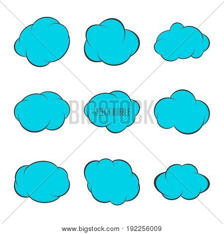 Set Speech bubble icon. Vector frame. Comic text box with stars. Blue color.