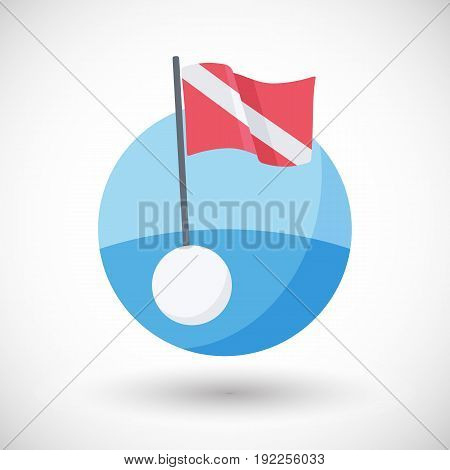 Diving warning flag vector flat icon Flat design of sea with international flag and buoy with round shadow vector illustration