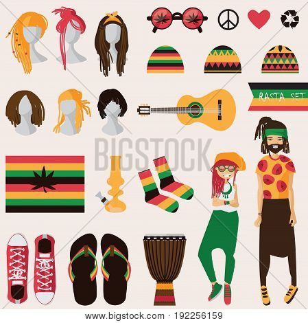 Rastafarian subculture. Couple of young rastaman woman and man with dreadlocks in rasta clothes set of different objects isolated on background sneakers bong guitar hairstyles for her and him
