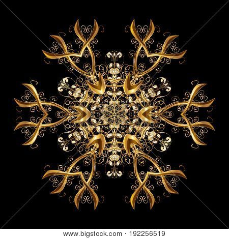 Vector pattern Christmas background. Abstract border. Winter boarder. Vector Christmas golden snowflakes with doodles and dots on black background.