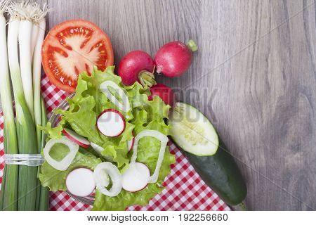 Lettuce, Radish, Onion, Tomato And Cucumbe