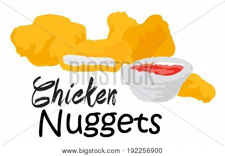 Chicken Nuggets. Vector illustration in watercolor style for graphic and web design