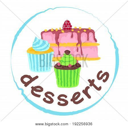 Desserts sticker. Vector illustration in watercolor style for graphic and web design