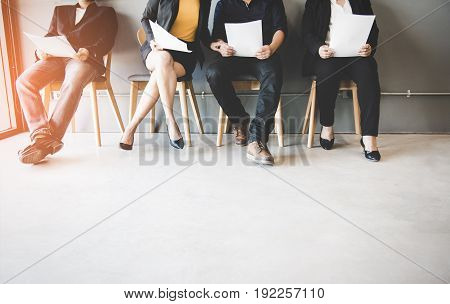 Group of asian people waiting for job interview. Business Concept