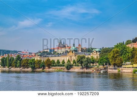 Scenic Panorama Of The Old Town Architecture With Vltava River And St.vitus Cathedral In Prague, Cze