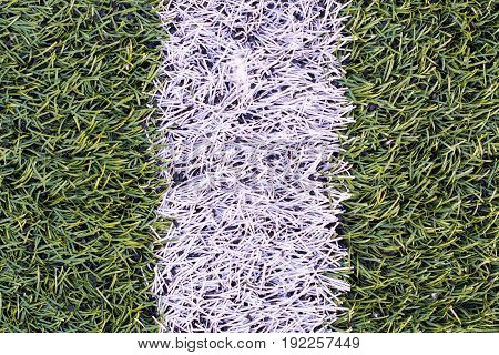 Detail of the cover of artificial sports turf with markings. Artificial grass with white stripe.