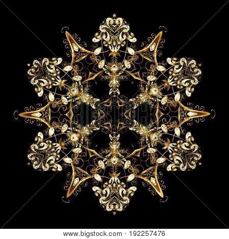 Design. Stock vector illustration falling snow. Golden snowflakes snowfall stylized snow on black background.