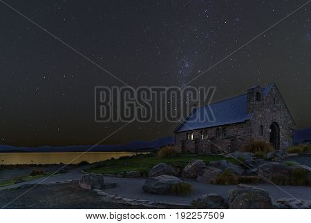 The Church of the Good Shepherd is situated on the shores of Lake Tekapo Mackenzie District Canterbury Region South Island of New Zealand
