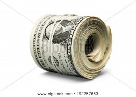 Roll dollar green white background money object