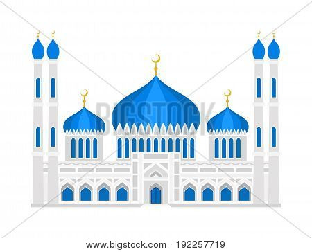 Cathedral muslim church infographic traditional temple building landmark tourism vector illustration. World religions history place historic monument.