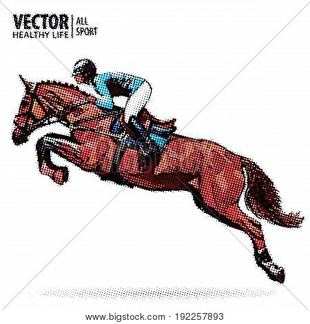 Jockey on horse. Champion. Horse riding. Equestrian sport. Jockey riding jumping horse. Sport. Pop art style vector illustration. Comic book style imitation. Vintage. Retro style.