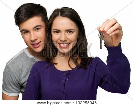 Key holding couple white copy space happy
