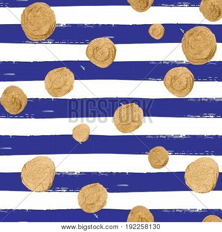 Vector seamless pattern with gold glittering falling confetti on hand drawn striped background. Allover print with streamers, tinsels and golden dust.
