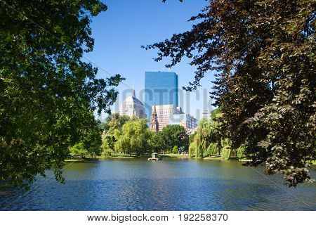 BOSTON MASSACHUSETTSUSA - JULY 2 2016: The Public Garden founded 1837.Also known as Boston Public Garden is a large park located in the heart of Boston Massachusetts adjacent to Boston Common.