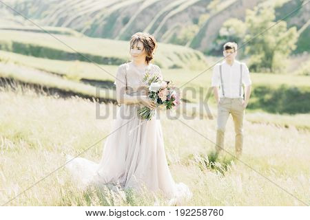 wedding couple on the nature. the bride and groom. fine art photography.