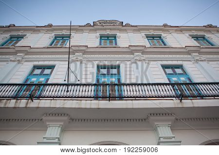 Havana Cuba - February 2 2017: Old colonial building in Havana Vieja.UNESCO wold heritage site Habana Vieja is a preserved slice of Cuban history. Grand Baroque and neoclassical buildings show what life in Cuba in the past century.