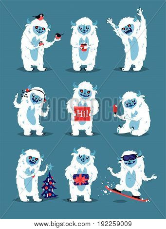 Cute Yeti Abominable Snowman, Bigfoot Sasquatch bigfoot monsters character like people vector set. Winter fantasy monsters unique expression sticker isolated. Fantasy mascot crazy animal