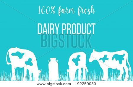 Cows silhouettes and a milk can on blue background. Concept idea for diary, Cattle farm. For logo, tag, banner, advertising, prints, design element, label.
