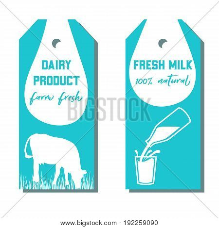 Set of two tags with milk symbol. Cow, Milk pouring from a bottle in glass. Silhouettes on Blue background. Concept idea for diary, Cattle farm. For logo, tag, advertising, prints, design, label