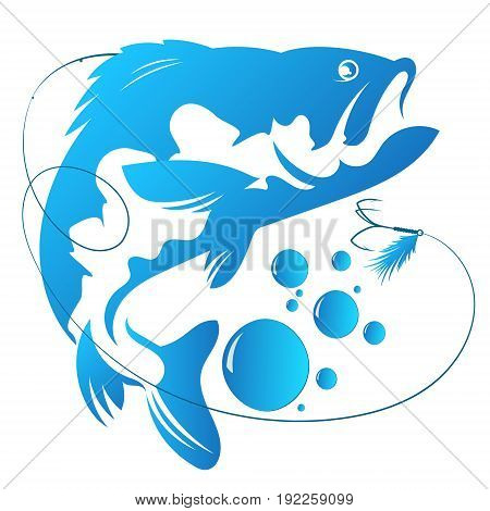Fish and hook vector for fishing illustration