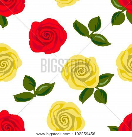 Seamless pattern with red and yellow rose flowers. Vector illustration. Summer print. For textile, decoration, packing, wrapping
