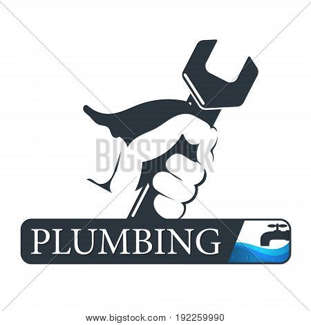 Plumbing service business symbol. Wrench in hand