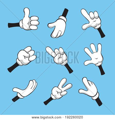 Illustration of cartoon various hands with different gestures.