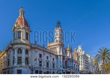 Valencia Town Hall (Ayuntamiento de Valencia) built in an eclectic style Spain
