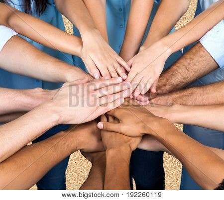 Business people hands many handshake business success human
