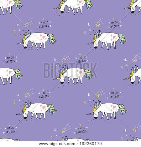Cute hand drawn cartoon seamless pattern with unicorns. Vector background.