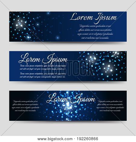 Abstract horizntal banners design with light effects, vector illustration
