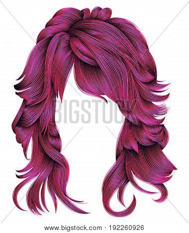 trendy woman long hairs bright pink colors .beauty fashion . realistic 3d