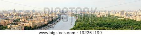 Moscow center panoramic view from above - Krymsky Bridge St. Andrew's Bridge Patriarch Bridge Christ the Savior Cathedral Monument to Peter I Moscow river park named after Gorky pleasure boats Central House of Artists Moscow Kremlin Ministry of Defence Os