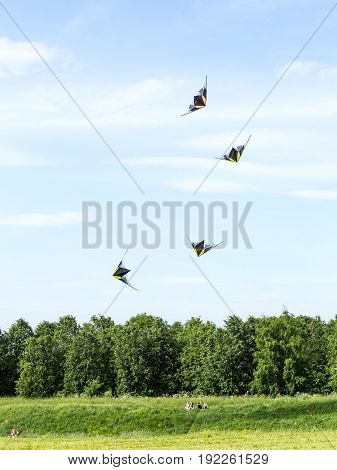 Moscow, Russia - June 01, 2014: Stunt kites against a blue sky over a group of resting spectators located on a green lawn at the festival of kites in Moscow Russia