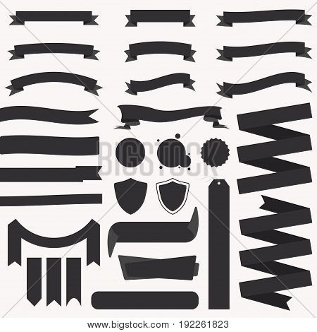 Set of ribbons and banners. Vintage ribbons banners badges. Template collection labels. Vector