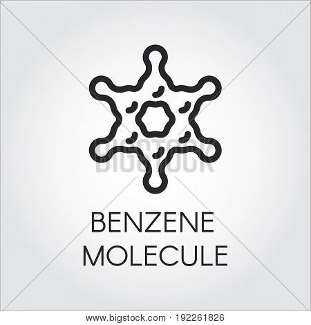 Simplicity line icon of benzene molecule. Organic chemical compound C6H6. Aromatic hydrocarbon contour logo. Vector illustration for scientific, chemical, physical, educational and other projects