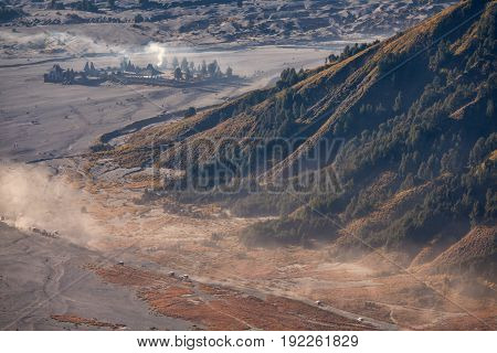 Mount Bromo volcano (Gunung Bromo) during sunrise from viewpoint on Mount Penanjakan. located in Semeru National Park East Java Indonesia.