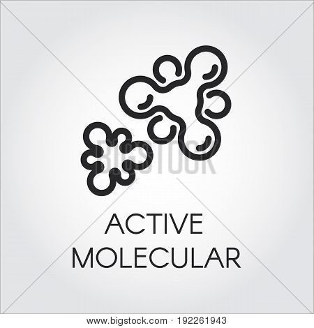 Vector contour label of active molecular structure. Logo in outline style. Black pictograph for study, science, medicine concept. Linear chemical icon