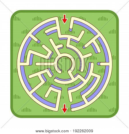 Abstract three-dimensional circle shaped maze game template, top view, ready for use. Or add legend text and cartoon characters, if needed.