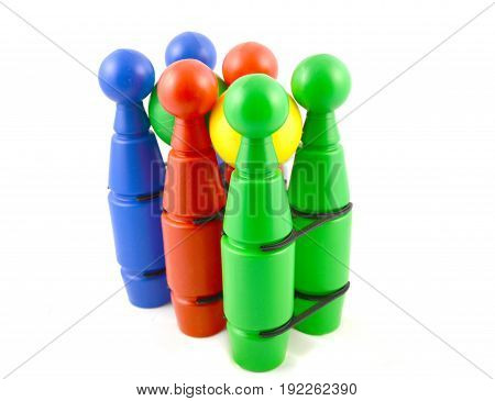 Image of colored bowling set on white background (isolated)