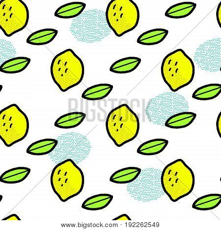 Simple lemons and leaves on white, vector background
