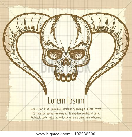 Monsters skull with horns on vintage background, vector llustration