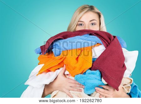 Heap woman clothes different color white background