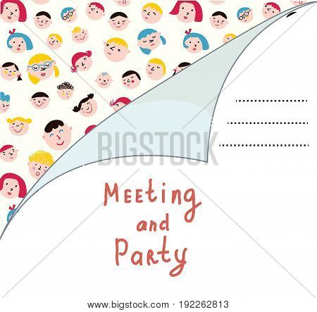 Invitation blank with people for meeting or party funny design. Vector graphic illustration
