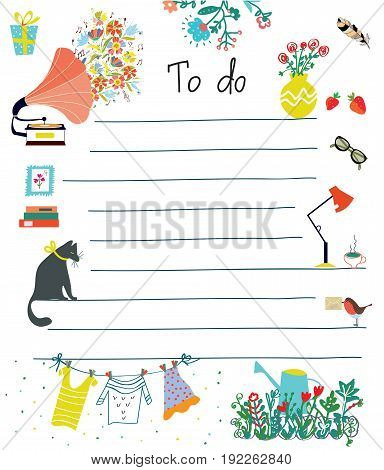 To do list - cute design with flowers cat lifestyle objects. Vector graphic illustration