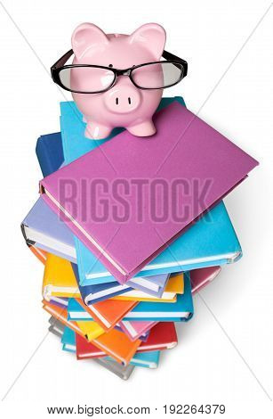 Bank glasses books pig piggy piggy bank background
