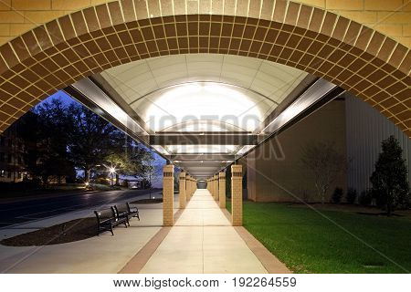 Light Modern Colonnade Walkway at Bob Jones University
