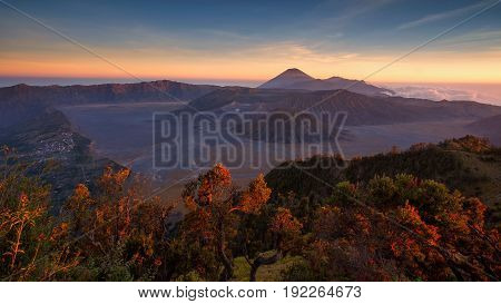 Mount Bromo Volcano During Sunset