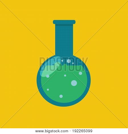 Laboratory glassware or beaker. Science lab beaker in flat style. Vector stock.
