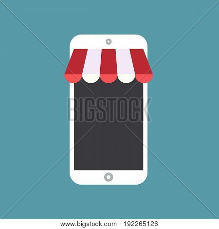 Mobile shopping. Online store and shopping icon. Vector stock.